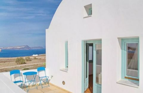 The house is located in a complex of houses, which has a tennis and pool with view at Caldera of Santorini. This bright and luxurious property features kitchen, bathroom, living room,dining rooms, loft, fireplace, yard 80 sqm. It also has Verandas an...
