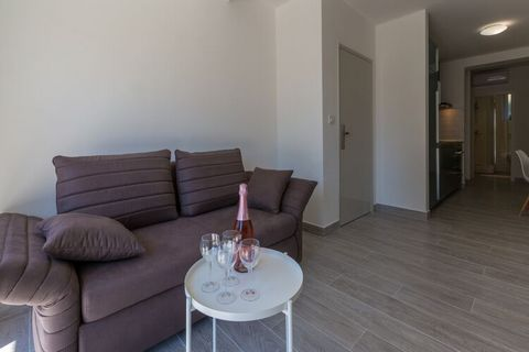 This modern apartment, with 1 bedroom for 2 people, is located in Dramalj. Ideal for a small group, guests can take a dip in the shared swimming pool and access free WiFi at this property. You can walk down to the beach, 380 m away, where you can enj...