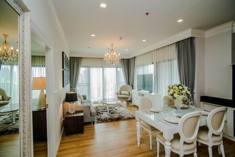 2-bedroom and 2-bathroom property in Thonglor - Ekkamai. This property features: Air-conditioning, Furniture, High floor, Balcony/terrace, The residence offers: 24/7 Security, Elevator, Swimming pool, Fitness/Gym, Sauna, Parking